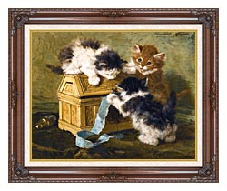 Henriette Ronner Knip Three Kittens With A Casket And Blue Ribbon canvas with dark regal wood frame
