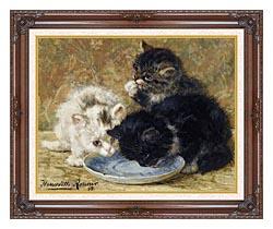 Henriette Ronner Knip Three Kittens Dinnertime canvas with dark regal wood frame