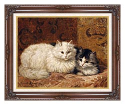 Henriette Ronner Knip Two Cats On A Cushion canvas with dark regal wood frame