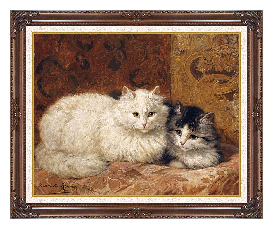 Henriette Ronner Knip Two Cats on a Cushion with Dark Regal Frame w/Liner