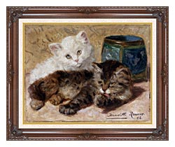 Henriette Ronner Knip Two Cute Kittens canvas with dark regal wood frame