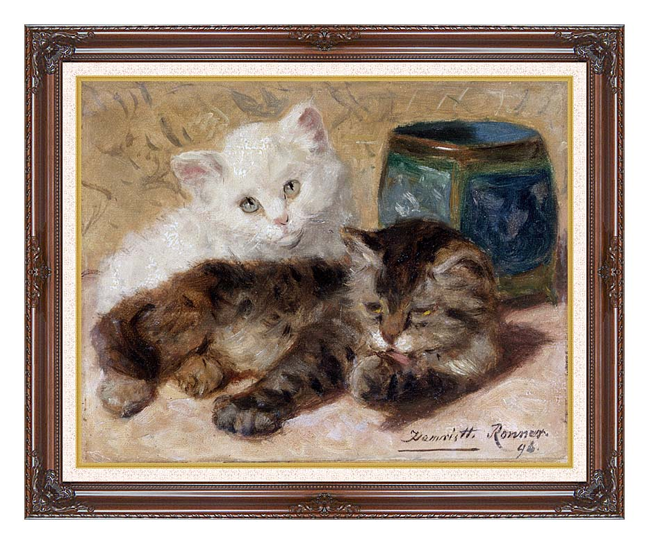 Henriette Ronner Knip Two Cute Kittens with Dark Regal Frame w/Liner