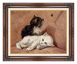 Henriette Ronner Knip Two Kittens canvas with dark regal wood frame