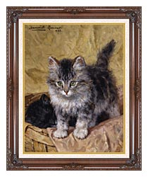 Henriette Ronner Knip Two Kittens In A Basket canvas with dark regal wood frame