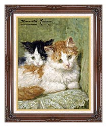 Henriette Ronner Knip Two Kittens Sitting On A Cushion canvas with dark regal wood frame