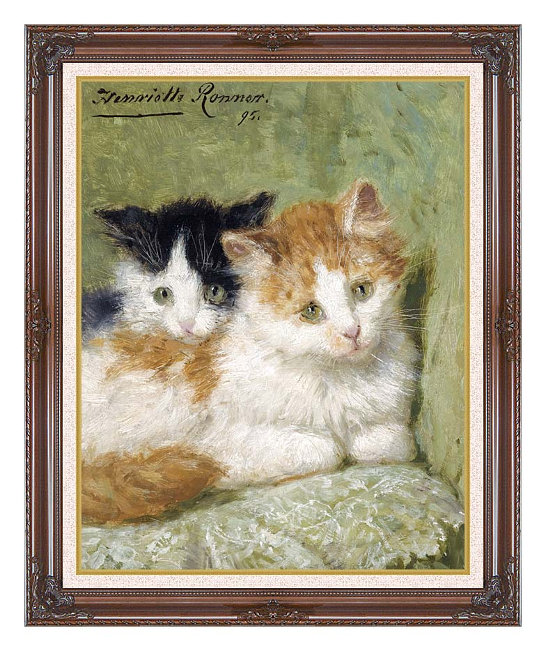 Henriette Ronner Knip Two Kittens Sitting on a Cushion with Dark Regal Frame w/Liner