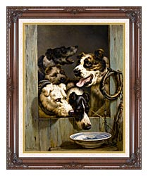 Henriette Ronner Knip Waiting For A Meal canvas with dark regal wood frame