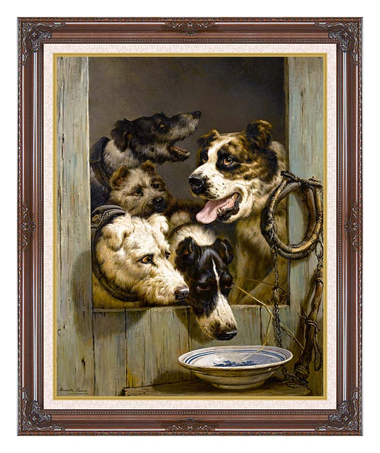 Henriette Ronner Knip Waiting for a Meal with Dark Regal Frame w/Liner