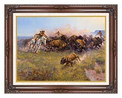 Charles Russell Buffalo Hunt No 39 canvas with dark regal wood frame