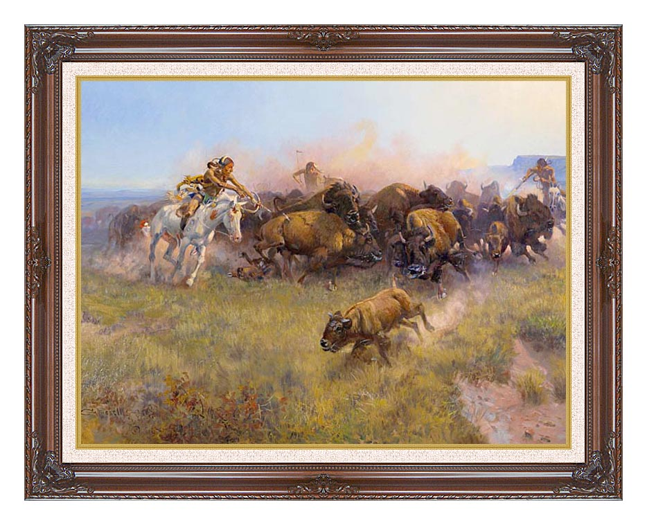 Charles Russell Buffalo Hunt No. 39 with Dark Regal Frame w/Liner