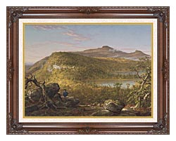 Thomas Cole A View Of The Two Lakes And Mountain House Catskill Mountains Morning canvas with dark regal wood frame