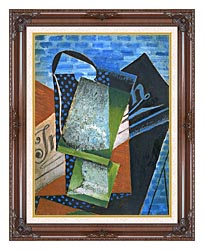 Juan Gris Abstraction canvas with dark regal wood frame