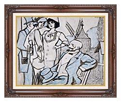 Juan Gris Aux Courses Des Longchamps canvas with dark regal wood frame