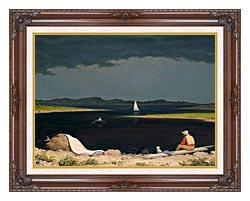 Martin Johnson Heade Approaching Thunder Storm canvas with dark regal wood frame