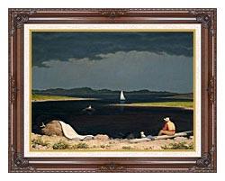Martin Johnson Heade Approaching Thunder Storm canvas with dark regal wood frame
