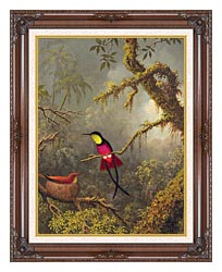 Martin Johnson Heade A Pair Of Nesting Crimson Topaz Hummingbirds canvas with dark regal wood frame