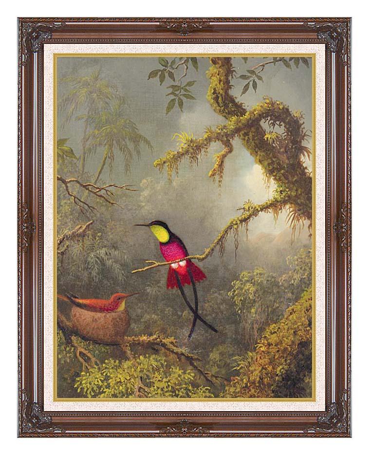 Martin Johnson Heade A Pair of Nesting Crimson Topaz Hummingbirds with Dark Regal Frame w/Liner