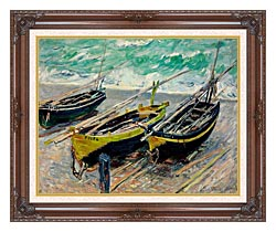 Claude Monet Three Fishing Boats canvas with dark regal wood frame