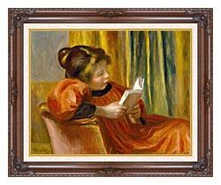 Pierre Auguste Renoir Girl Reading canvas with dark regal wood frame