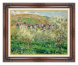Claude Monet Flowering Plum Trees canvas with dark regal wood frame