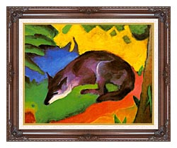 Franz Marc Blue Black Fox canvas with dark regal wood frame