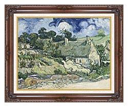 Vincent Van Gogh Thatched Cottages At Cordeville canvas with dark regal wood frame