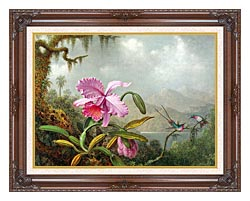 Martin Johnson Heade Orchids And Hummingbirds canvas with dark regal wood frame