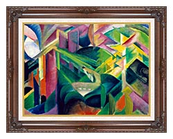 Franz Marc Deer In A Monastery Garden canvas with dark regal wood frame