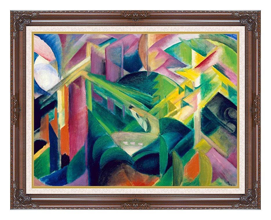 Franz Marc Deer in a Monastery Garden with Dark Regal Frame w/Liner