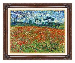 Vincent Van Gogh A Poppy Field canvas with dark regal wood frame