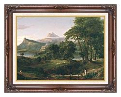 Thomas Cole The Course Of Empire The Arcadian Or Pastoral State canvas with dark regal wood frame