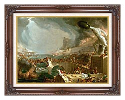 Thomas Cole The Course Of Empire Destruction canvas with dark regal wood frame