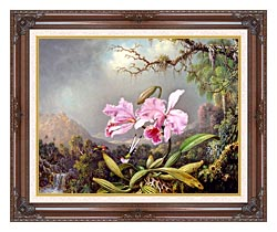 Martin Johnson Heade Study Of An Orchid canvas with dark regal wood frame