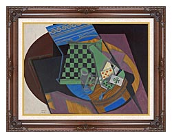Juan Gris Checkerboard And Playing Cards canvas with dark regal wood frame