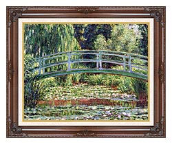 Claude Monet The Japanese Footbridge And The Water Lily Pool Giverny canvas with dark regal wood frame