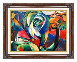Franz Marc The Mandrill canvas with dark regal wood frame