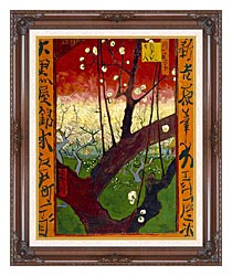 Vincent Van Gogh Flowering Plum Tree canvas with dark regal wood frame