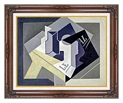 Juan Gris Frutero Y Periodico canvas with dark regal wood frame