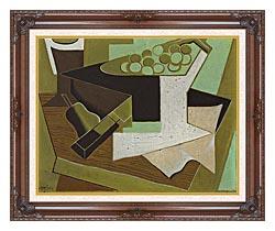 Juan Gris Grappe De Raisin Et Poire canvas with dark regal wood frame