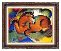 Franz Marc Red Bull canvas with dark regal wood frame