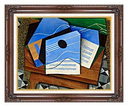 Juan Gris Guitar On A Table canvas with dark regal wood frame