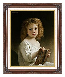 William Bouguereau The Story Book canvas with dark regal wood frame