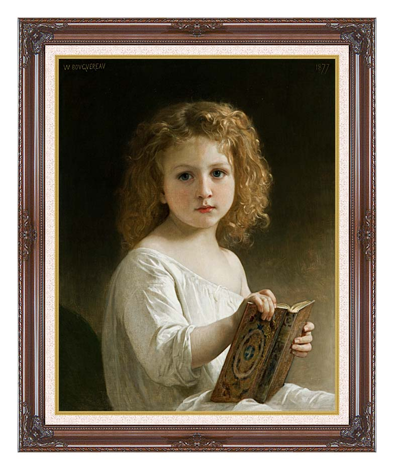William Bouguereau The Story Book with Dark Regal Frame w/Liner