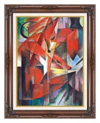 Franz Marc The Foxes canvas with dark regal wood frame