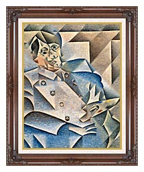 Juan Gris Portrait Of Pablo Picasso canvas with dark regal wood frame