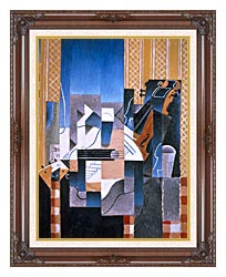 Juan Gris Violin And Guitar canvas with dark regal wood frame