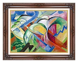 Franz Marc The Sheep canvas with dark regal wood frame