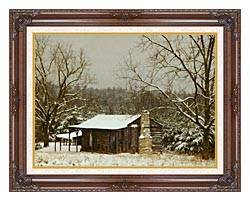 Ray Porter Cabin In The Woods canvas with dark regal wood frame