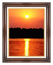 Ray Porter Red Sky At Night canvas with dark regal wood frame