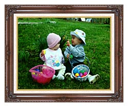 Ray Porter Our First Easter canvas with dark regal wood frame